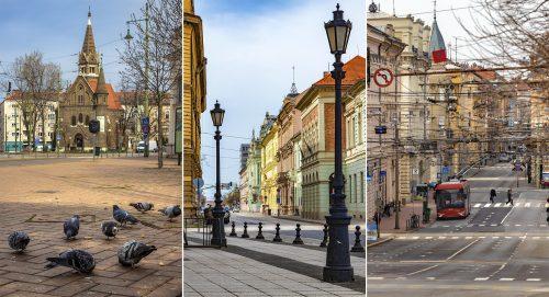 A koronavírus járvány miatt elcsendesült szegedi belváros hangulatképei