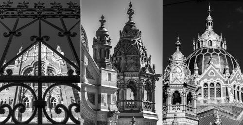 A gyönyörűen felújított szegedi zsinagóga részletei, ezúttal fekete-fehér kivitelben