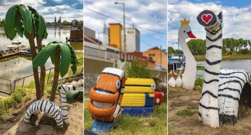 Újrahasznosított hulladékból készült jópofa figurák a szegedi Vígmatróz Kikötőnél