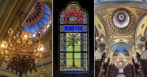Fotósorozat a szegedi zsinagóga belsejéből, amely a világ negyedik legnagyobb zsinagógája