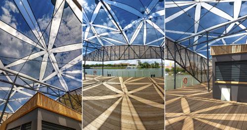 Elkészült a Partfürdőn található, különleges napvitorlákkal árnyékolt új szegedi kikötő