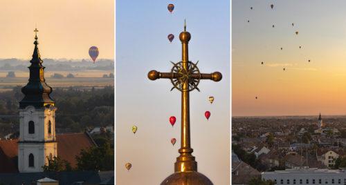 Így vonultak keresztül a hőlégballonok a szegedi belváros felett, a Dóm tornyából nézve