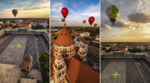 Fotósorozat az idei hőlégballonverseny mezőnyének érkezéséről, a szegedi Dóm tér fölé